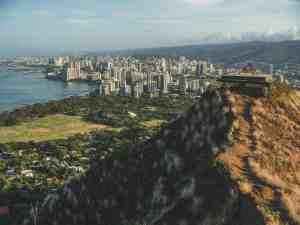Honolulu skyline from diamond head crater hawaii