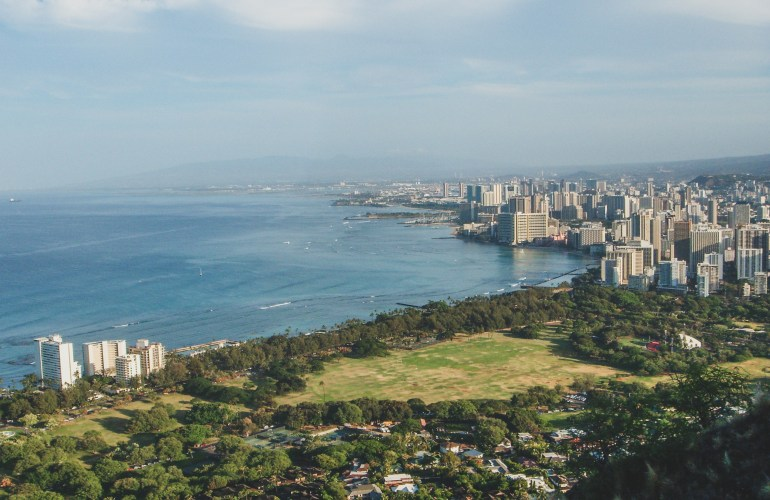Honolulu skyline from diamond head crater hawaii