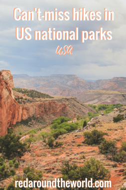These are some of the best hikes in national parks around the US from Capitol Reef to the Badlands. These hikes are great for all skill levels and includes some of the best easy hikes in the national parks, too. #nationalparks #usa #travel #roadtrip #nationaparkroadtrip #hiking #nationalparkhikes #capitolreef #badlands #tetons #grandteton #yellowstone #archesnationalpark