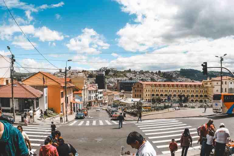 street by Basílica del Voto Nacional basilica in quito ecuador