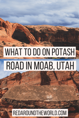 Potash Road is one of the scenic drives in Moab Utah and has some of the best things to do in Moab on it. You can see dinosaur tracks, petroglyphs, the Colorado River, and multiple arches. It's a great alternative to arches national park if you've been there and have extra time.