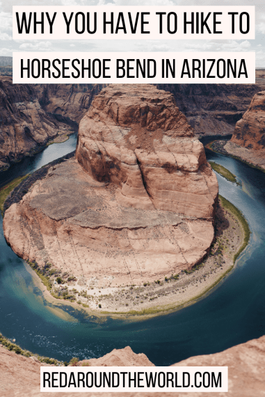 The Horseshoe Bend hike in Page, Arizona is the perfect road trip stop. Its an easy hike with stunning canyon views. Horseshoe Bend is a must-see in Arizona. This is a great hike in Arizona and an easy hike in Arizona. It's the perfect stop on an Arizona road trip or for a hike by Lake Powell.