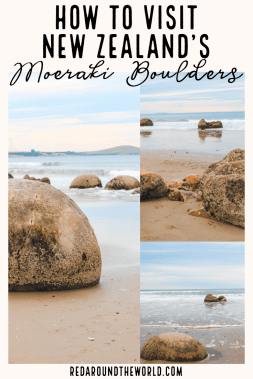 The Moeraki Boulders of Otago are a fun roadside stop on any New Zealand road trip. They're just an hour from Dunedin and easy to get to. New Zealand road trip | New Zealand beach | moeraki boulders | moeraki boulders otago | moeraki boulders beach | New Zealand things to do | New Zealand vacation | New Zealand travel ideas