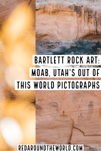 The Bartlett Rock Art site is a set of pictographs in Moab that are easy to get to and depict alien figures. Make sure you visit the Bartlett Pictographs. Utah national parks   Utah road trip   hiking in Utah   best things to do in Utah   Utah hikes   Utah road trip itinerary   national parks in Utah   Moab utah   Moab things to do   rock art in utah   utah travel   Utah things to do   utah vacation   Moab vacation   Moab travel   moab hikes   hiking in moab