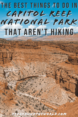 These are the best things to do at Capitol Reef National Park that aren't hiking. Pick fruit in the Capitol Reef Orchards and look at petroglyphs on the drive. Capitol Reef in Utah has tons to see that doesn't involve hiking. Utah national parks | Utah road trip | hiking in Utah | best things to do in Utah | Utah hikes | Utah road trip itinerary | national parks in Utah | Capitol Reef National Park | Capitol Reef hikes | Capitol Reef Utah | Things to do in Capitol Reef | hiking in Capitol Reef