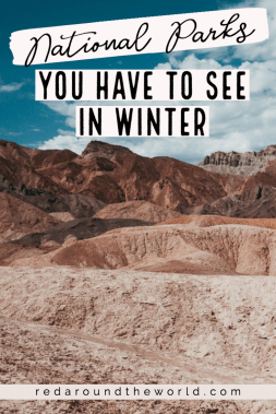 These are some of the best national parks to visit in winter. Whether it's to get into the snow or away from it, these winter national park trips will be unforgettable. US National Parks | National Park road trip | national parks to see in winter | winter national parks | Zion national park | Arches National Park | Yosemite winter | Big Bend winter | winter national parks trip | Yellowstone in winter | Arches in winter | Zion in winter | national parks in winter | winter road trip | winter nature