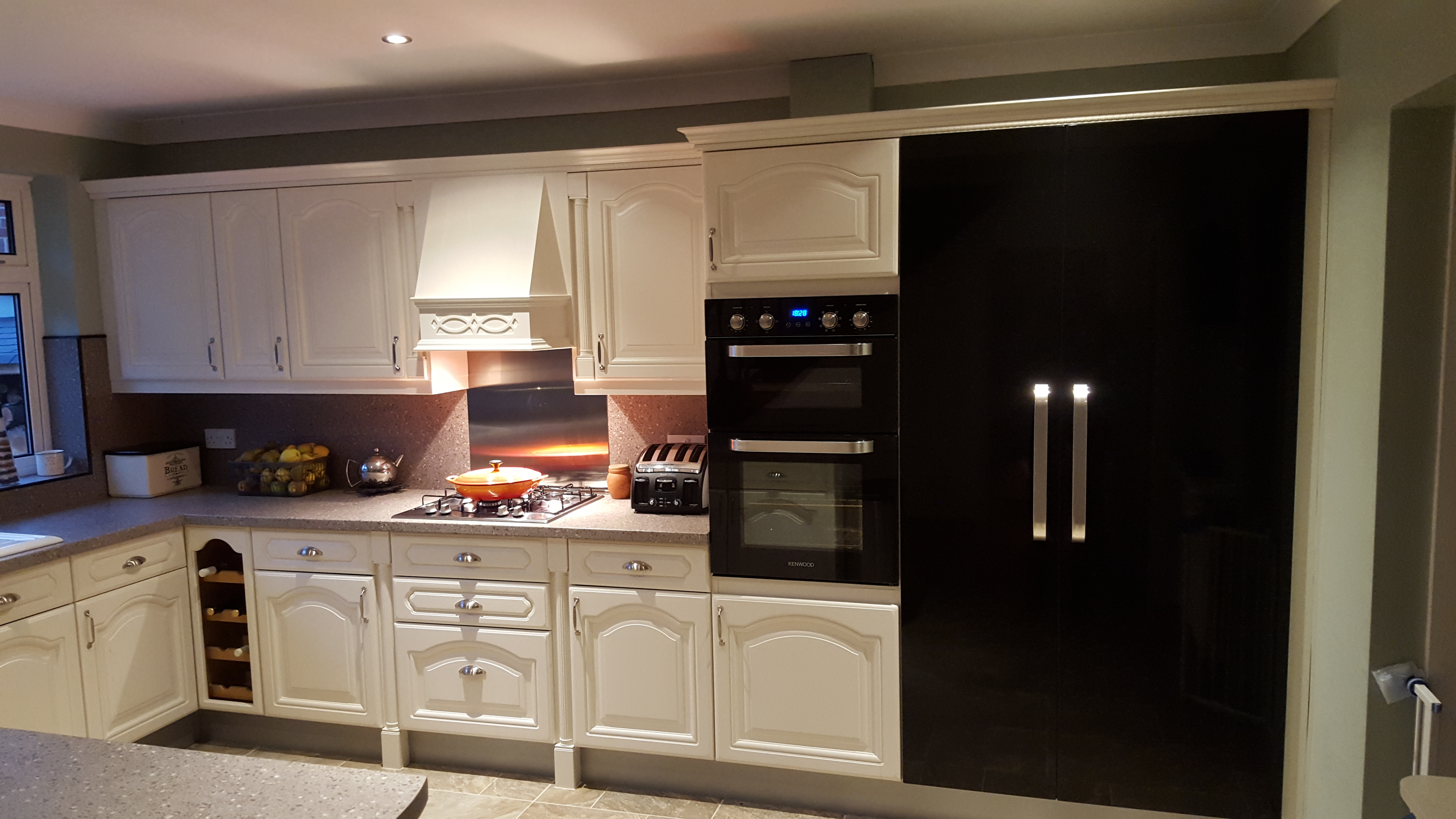 A Single Integrated Freezer Was Fitted And A Custom Made Unit With Shelves  Built Next To It. Both Were Fitted With With Full, High Gloss, Black Doors  To ...