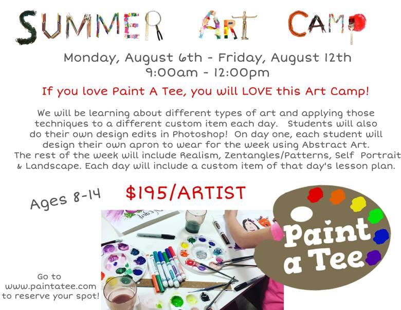 Paint a Tee Summer Art Camp
