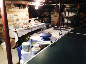 Winter studio in the basement of our 200+ year old farmhouse. Notice the stone foundation.