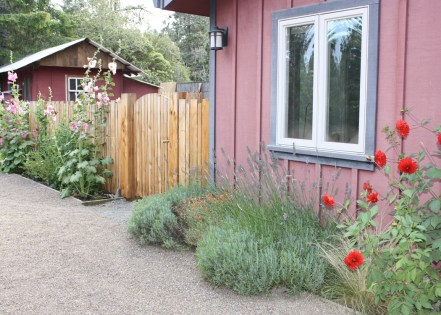 Mendocino Vacation Rental Red Barn Retreat Gate to Garden Patio