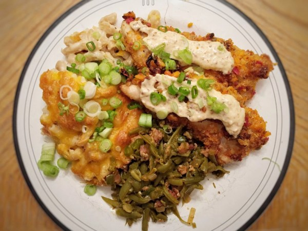 Creole Mac and Cheese with Mardi Gras Chicken Strips and Creole Green Beans
