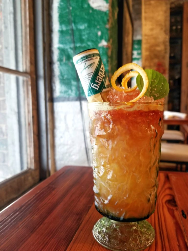 Tall glass of the Underberg cocktail