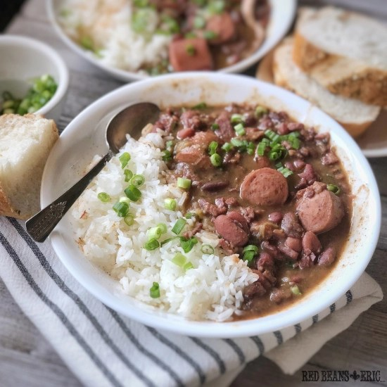 Bowl of homemade red beans and rice.