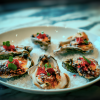 Broiled Oysters with Cayenne Aioli