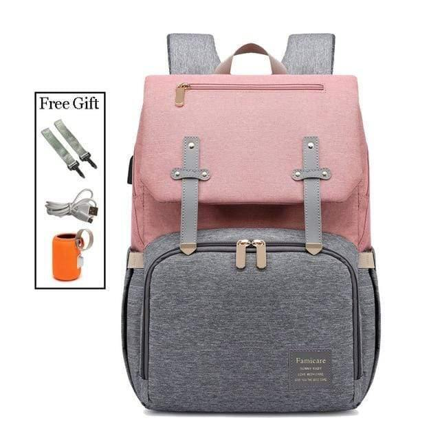 USB Diaper Backpack Bag Redbox pink with grey