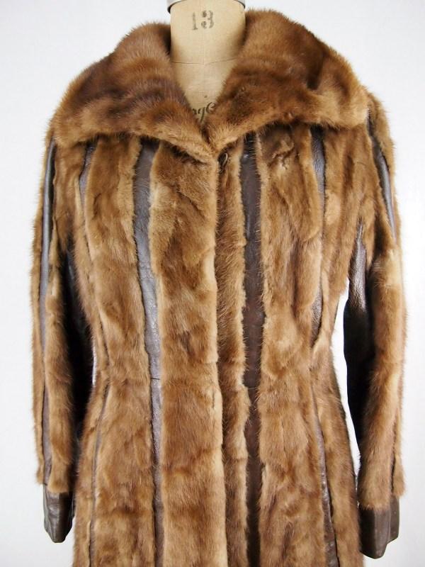Vtg Caskie Canada Brown Real Mink Fur Leather Stripe Long