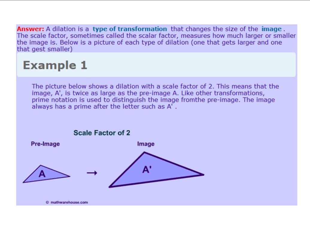 hight resolution of Dilations - 8th Grade Math