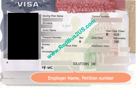 H1B US Visa Sample with Annotation of Employer Name and Receipt Number
