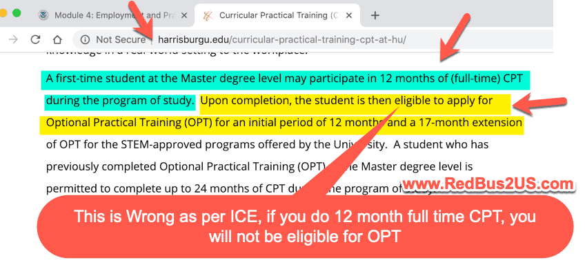 Harrisburg CPT Rules - Wrong Info on OPT Screenshot
