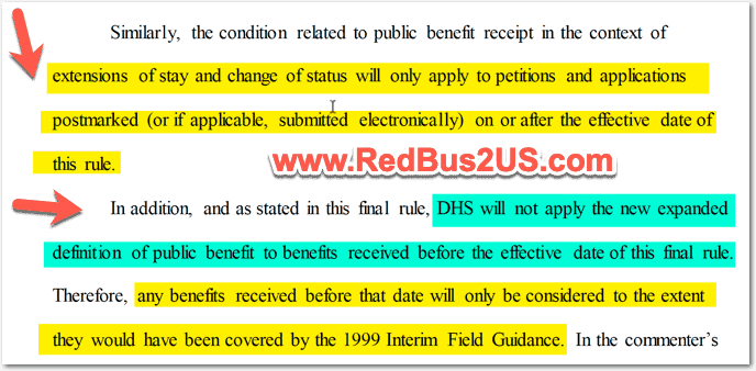Applicability of Public Charge Rule for Benefits before October 15th 2019