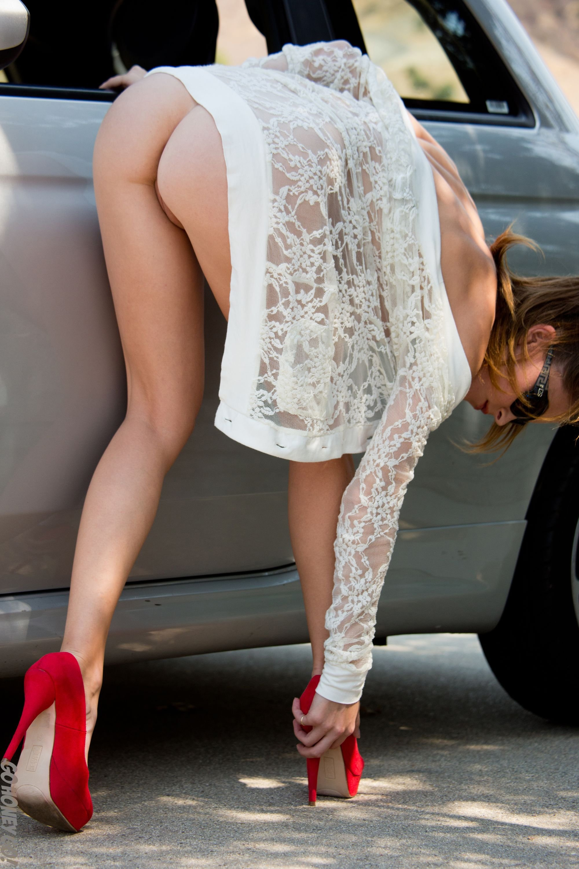 Amber sym fiat 500 red high heels nude gohoneygo 10 RedBust