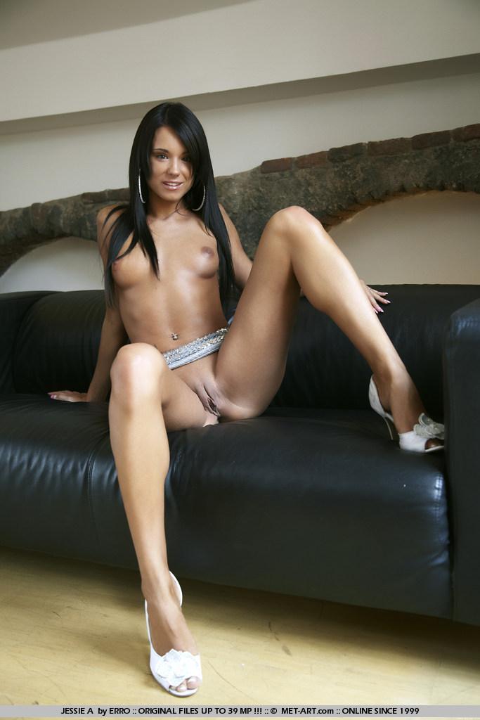 Ashley Bulgari on leather couch  RedBust