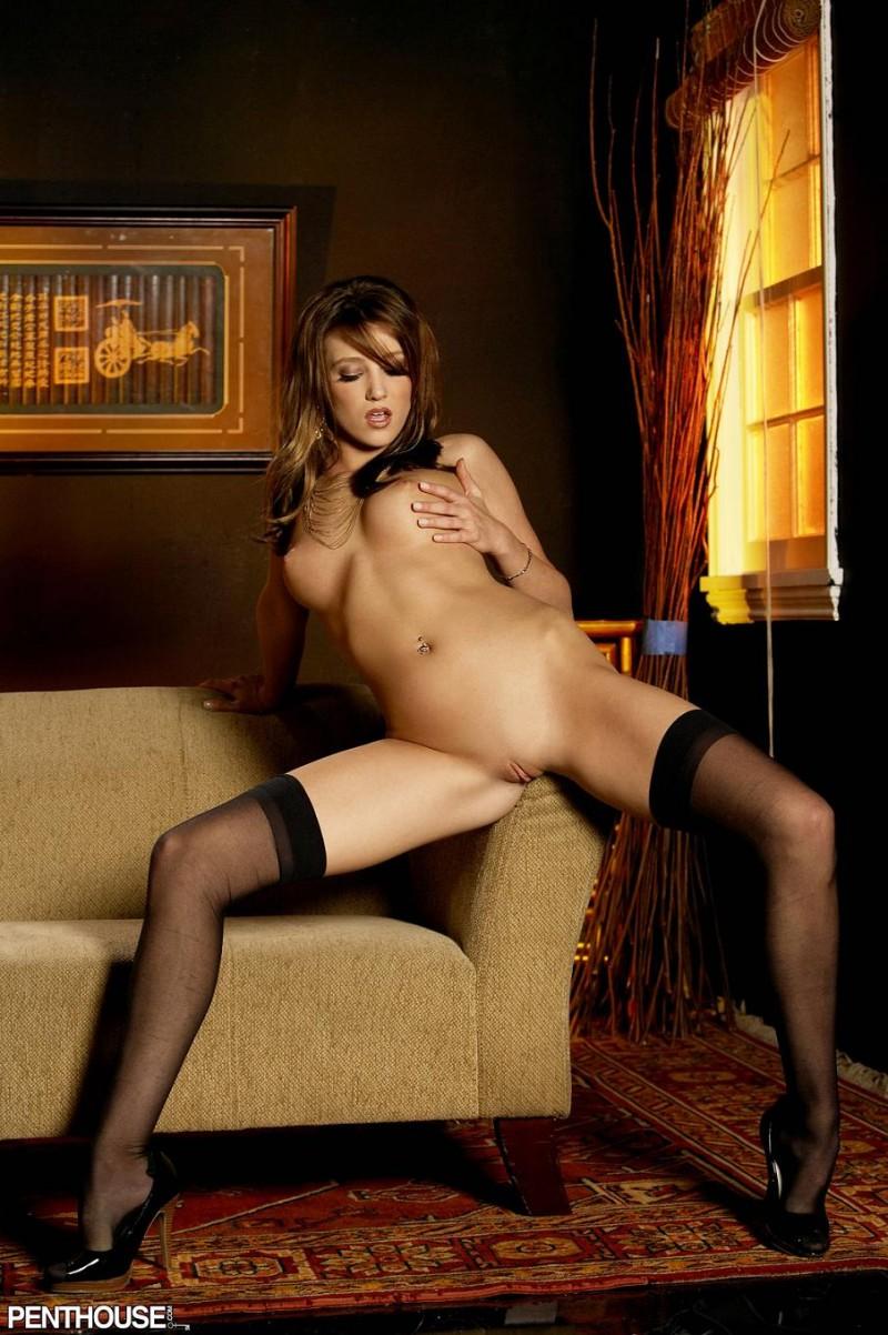 Carli Banks in black stockings  RedBust