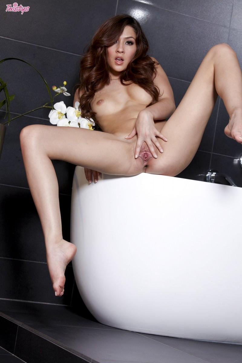 Cassie Laine in bathroom