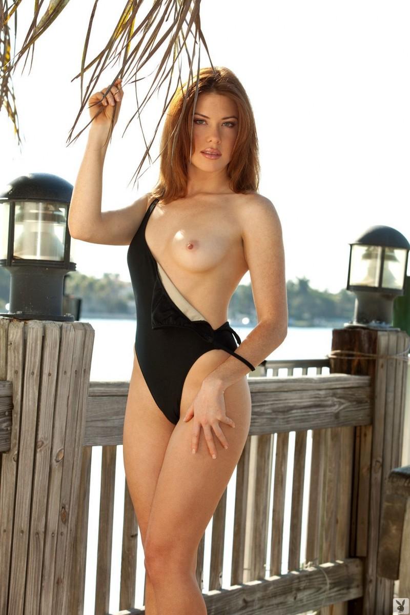 Emily Virginia in black onepiece bikini
