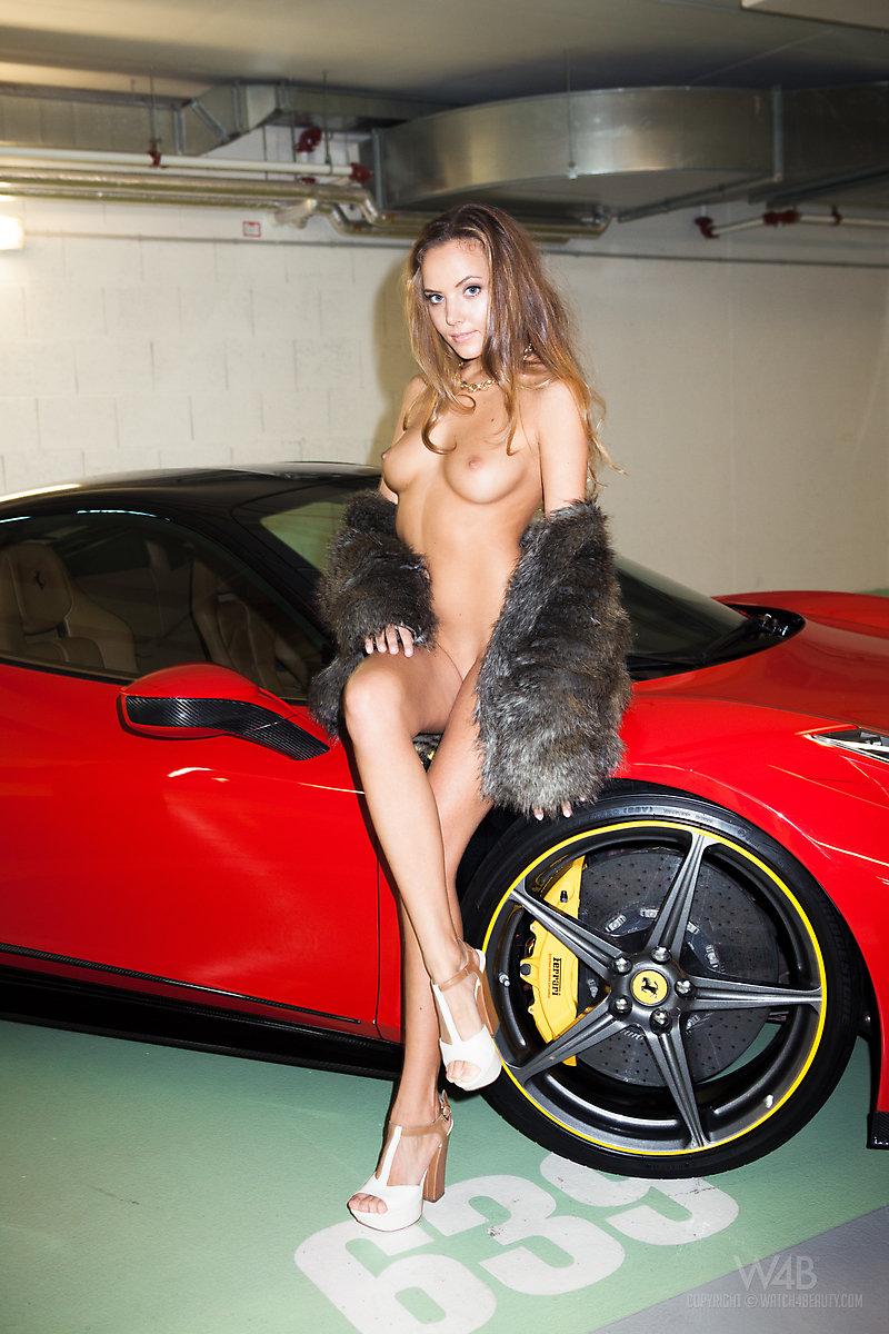 Katya Clover nude in Ferrari 458 Italia
