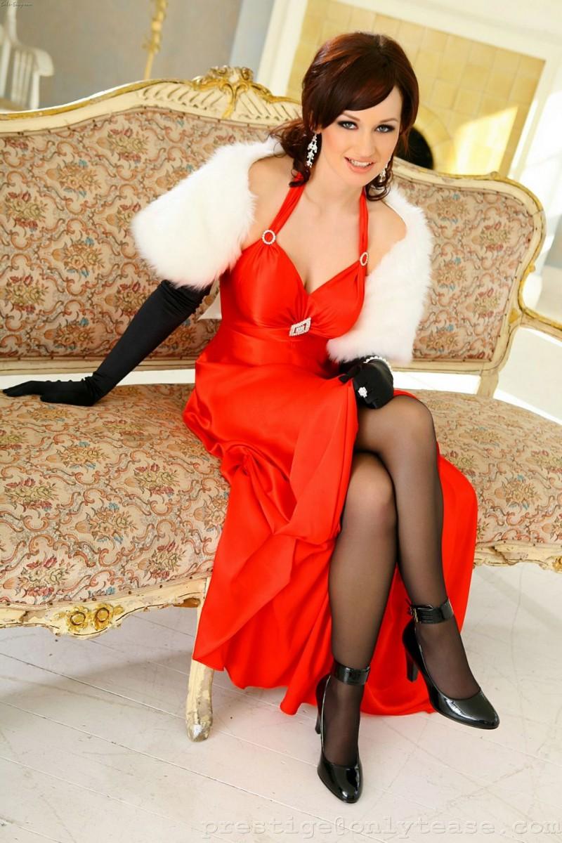 Kitty Lea in long red dress  RedBust