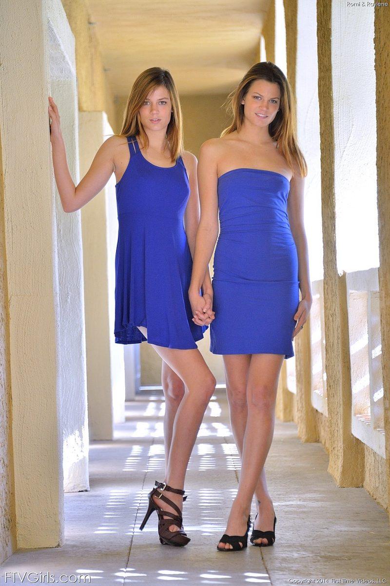 Raylene  Romi in blue dresses  RedBust