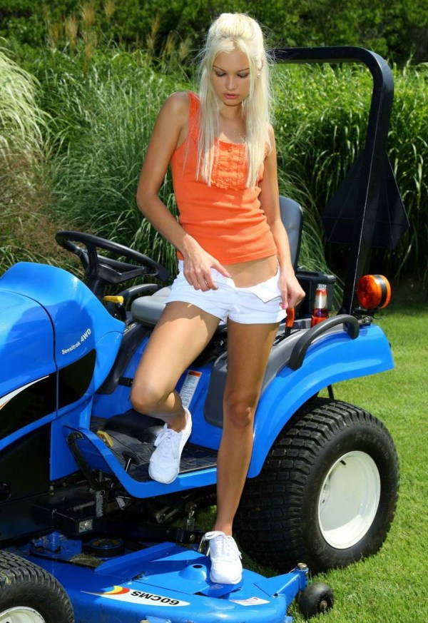blond and lawn mower - redbust