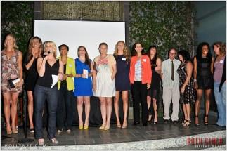 Olympians (L to R) Jaime Komer, April Ross, Tracy Evans (front), Angela Houcles, Erin Hamlin, Anne Poulin, Jen Kessy, Pam Shriver, Elsie Wenger, Curt Bader, Cathy Marino, Tasha Danvers and Katherine Starr