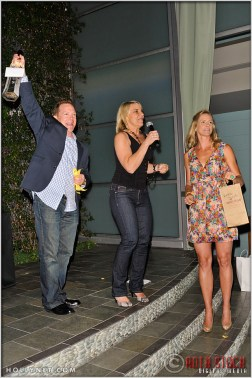 Raffle Winner with Olympians Tracy Evans and Jaime Komer at Kids Play International's 4th Annual Cocktails For A Cause