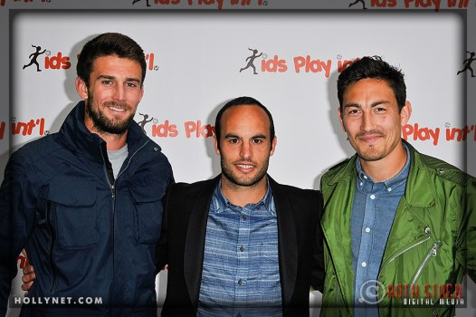 LA Galaxy's Tommy Meyer, Landon Donovan and Stefan Ishizaki