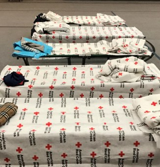 Cots lined up in the shelter at Trinity Lutheran Church, Lynnwood WA