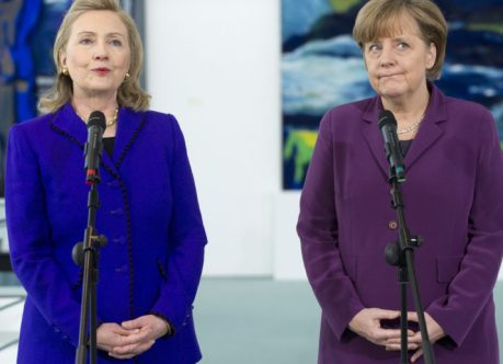 German Chancellor Angela Merkel shakes hands with US Secretary of State Hillary Clinton (L) prior to a meeting at the Federal Chancellery in Berlin, Germany, April 14, 2011. Clinton is in Berlin to attend the two-day NATO Foreign Ministers meetings. AFP PHOTO / POOL / Saul LOEB (Photo credit should read SAUL LOEB/AFP/Getty Images)