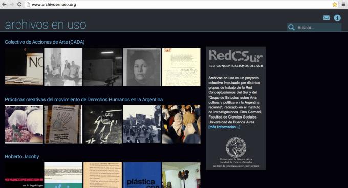 Vista de la página web www.archivosenuso.org
