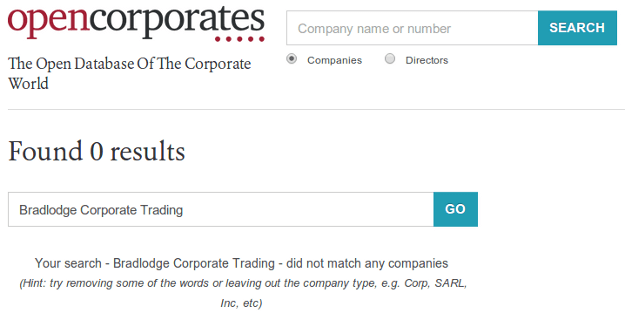 Bradlodge Corporate Trading: Yet another scam company cashing in on