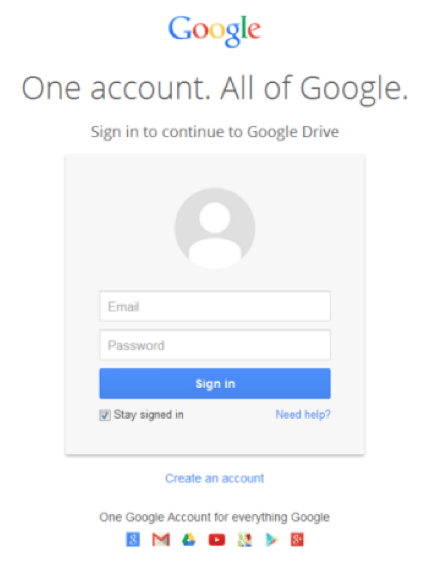 Fake Google log in