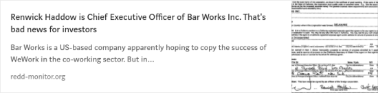 Renwick Haddow is Chief Executive Officer of Bar Works Inc.
