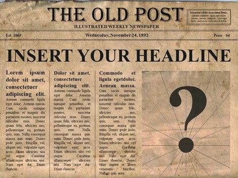 [GM tools-RPG] Edittable old newspaper template