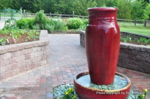 Red fountain in the new potager in 2010.