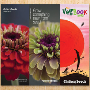 Three views of the Chiltern Seeds catalogs. They are long and narrow this year.