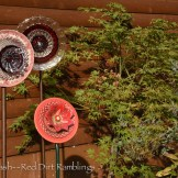 Garden glass plate flowers from vintage china and glass. Dee Nash's garden