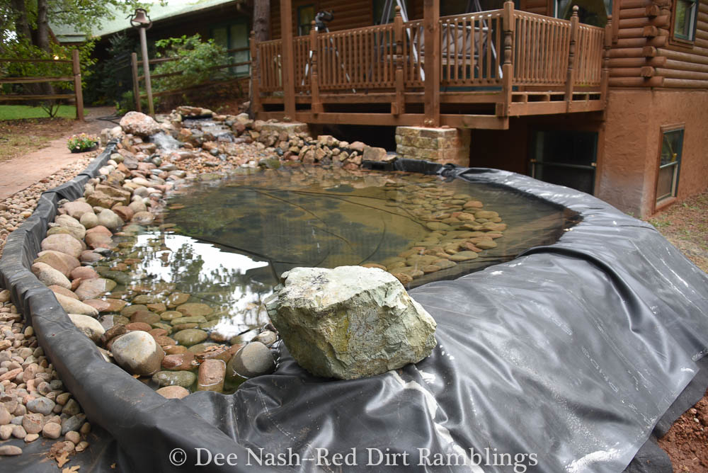 Here is what the pond looks like half finished or maybe three quarters finished. I think it will be done by the tour.
