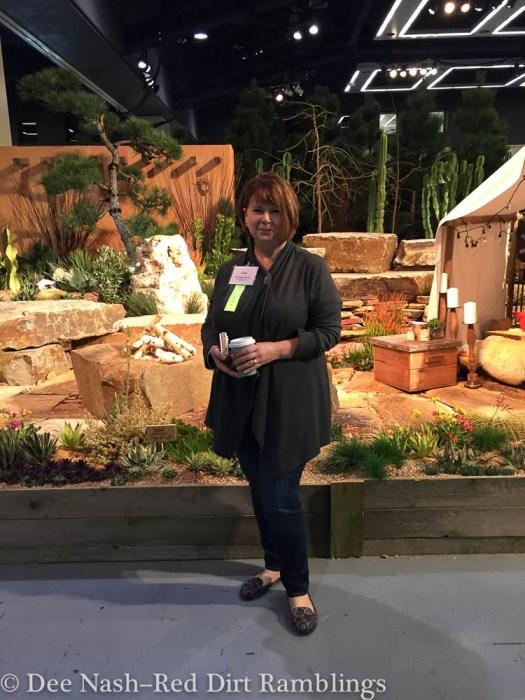 Loree from Danger Garden in front of her favorite type of gardening.