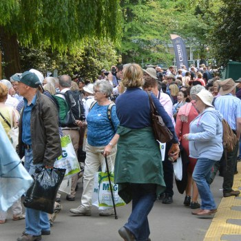 Chelsea Flower Show crowds after lunch.