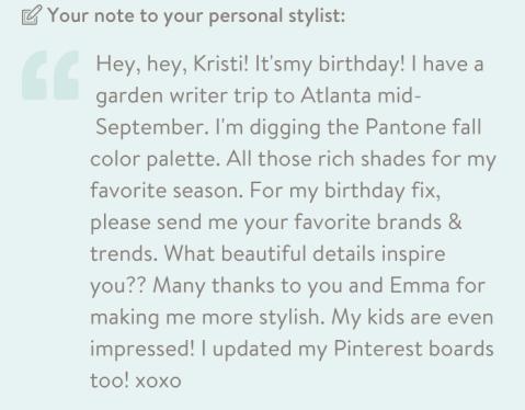 My note to my stylist, Kristi.